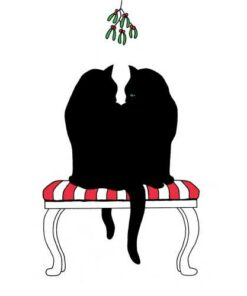 Servetel - black cat Mistletoecm - 25x25 cm