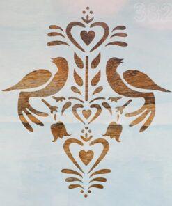 Șablon – folk art birds – 20×20 cm