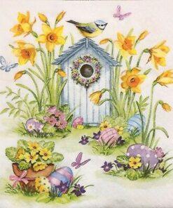 Șervețel - Birdhouse & Easter Eggs - 33x33 cm