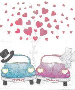 Șervețel - Cars In Love - 33x33cm