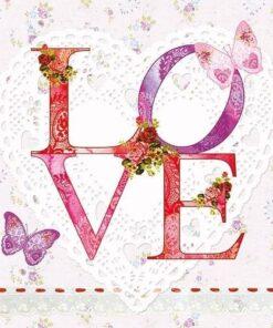 Șervețel - Lovely Love - 33x33 cm