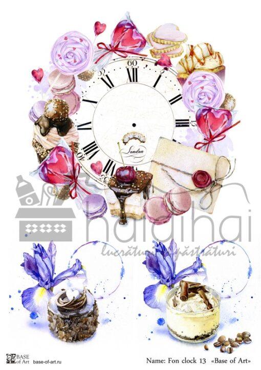 Hârtie decoupage - Antiques clock 12 - A4