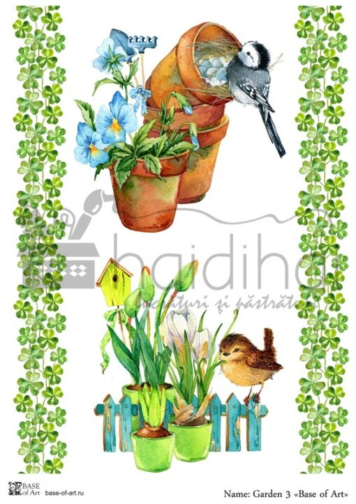 Hârtie decoupage - Garden 3 - A4