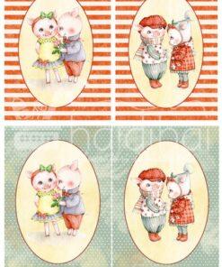 Hârtie decoupage - Love piggy 2 - A3