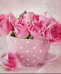 Șervețel - Roses in a Cup - 33x33 cm