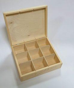 Cutie din lemn pentru ceai - 9 compartimente