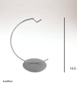 Suport metalic decorativ argintiu – glob – h 14,5 cm