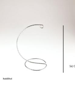 Suport metalic decorativ argintiu cromat - glob - h14 cm