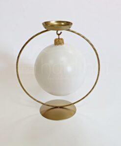 Suport metalic decorativ cu lumânare - glob - h 10 cm