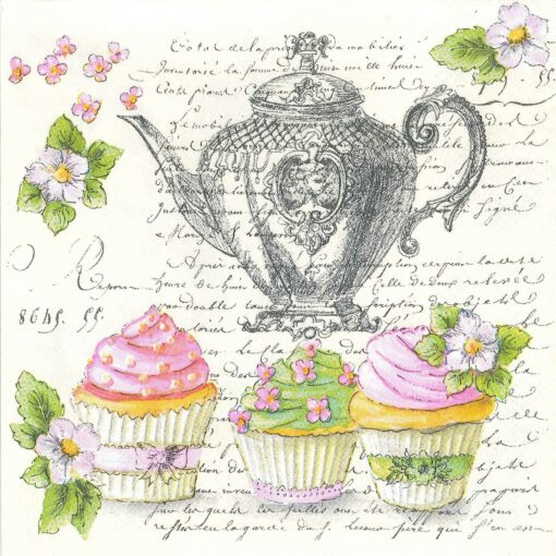 Șervețel – Retro Cupcakes and Teapot – 33×33 cm