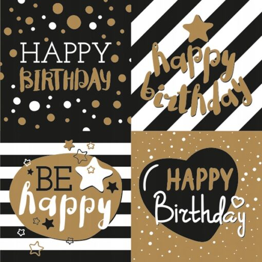 Șervețel - Golden Happy Birthday - 33×33 cm