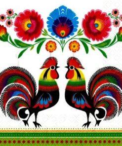 Șervețel - Two Folk Roosters - 33×33 cm