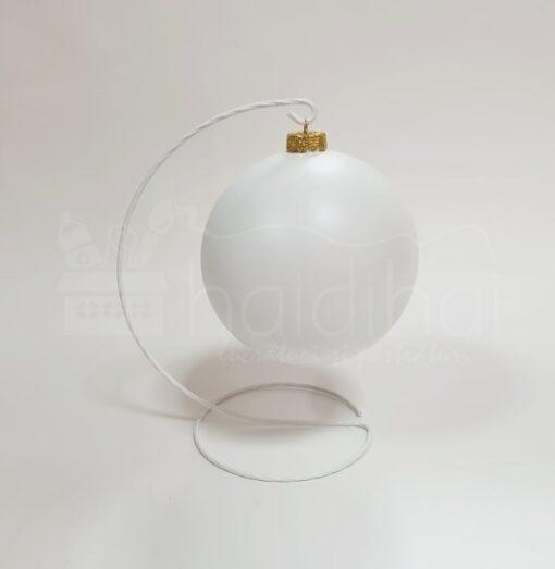Suport metalic decorativ alb - glob - h 20 cm