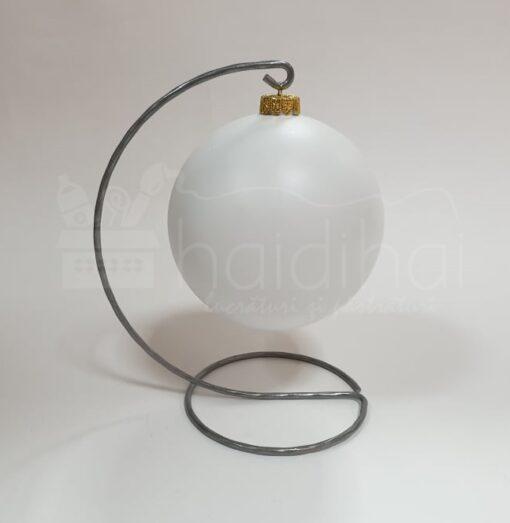 Suport metalic decorativ argintiu - glob - h20 cm