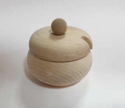Repicient din lemn cu capac pentru zahăr/miere