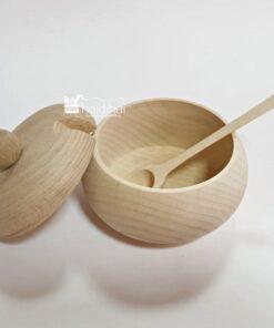 Repicient din lemn cu capac pentru zahăr/miere 3