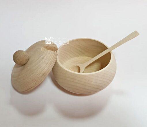 Repicient din lemn cu capac pentru zahăr/miere 2