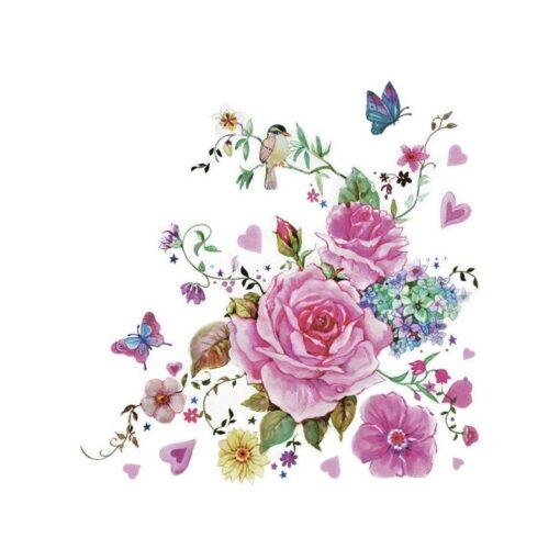 Servețel - Drown Roses With Butterflies - 33×33 cm