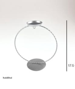 Suport metalic argintiu cu lumânare – glob – h17,50 cm