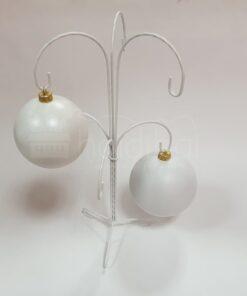Suport metalic decorativ alb - 6 globuri - h 35 cm