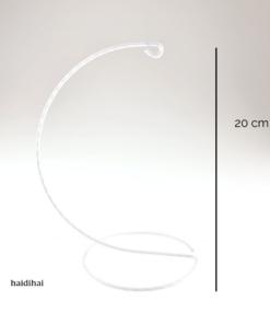 Suport metalic decorativ alb - glob - h20 cm