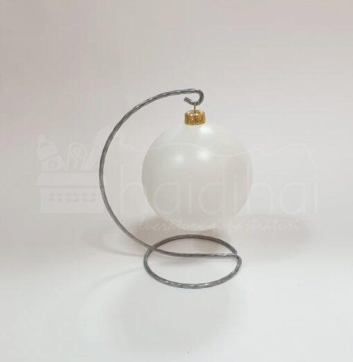 Suport metalic decorativ argintiu – glob – h 16,5 cm