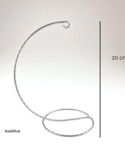 Suport metalic decorativ argintiu – glob – h20 cm