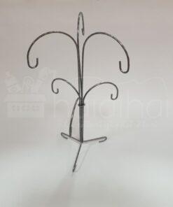 Suport metalic decorativ argintiu - 6 globuri - h 35 cm 2