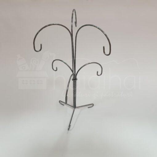 Suport metalic decorativ argintiu - 6 globuri - h 35 cm 1