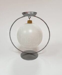 Suport metalic argintiu cu lumânare – glob – h 17,50 cm