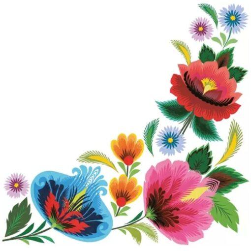 Șervețel – Floral Folk Frame – 33×33 cm