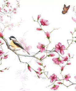 Șervețel – Bird & Blossom White – 33×33 cm