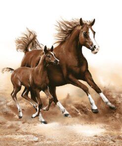 Șervețel - Mare With Foal - 33×33 cm