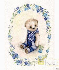 Hârtie de orez - Blue Teddy - A5