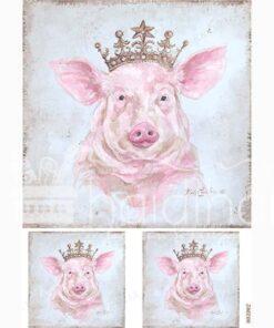 Hârtie de orez - Crowned Pig - A5