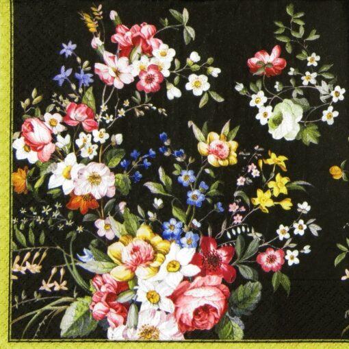 Șervețel - Blooming black - 33x33 cm