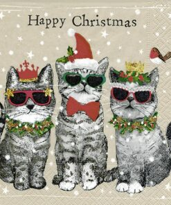 Șervețel - Happy Christmas, Cats - 33x33 cm