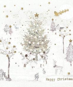 Șervețel - Happy Christmas, angels - 33x33 cm