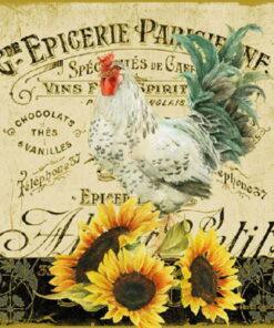 Șervețel - Rooster & Sunflowers - 33x33cm