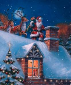 Șervețel - Santa on Rooftop with Reindeer - 33x33 cm