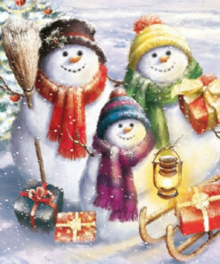 Șervețel - Snowmen Family - 33x33 cm