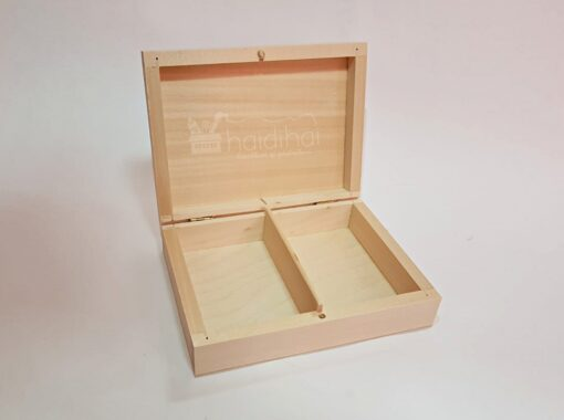 Cutie din lemn cu 2 compartimente – 16x12x4,5 cm