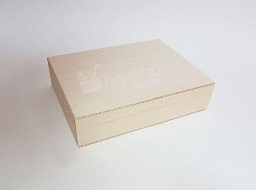Cutie din lemn pentru carduri cu 2 compartimente - 16x12x4