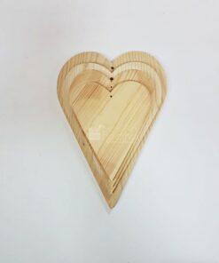 Formă inimă - lemn natur - set 4 buc.