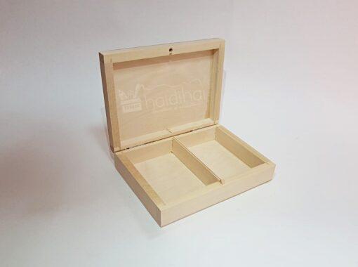Cutie din lemn 2 compartimente - 16x12x4,5 cm