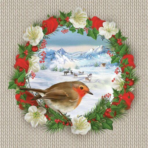 Șervețel - Bullfinch Bird on Wreath - 33x33 cm