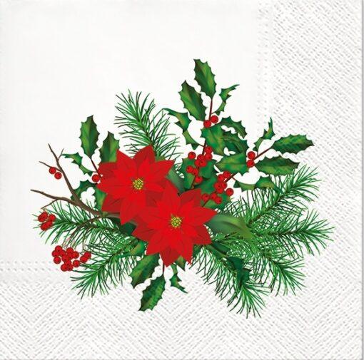 Șervețel - Poinsettia With Holly - 33x33 cm