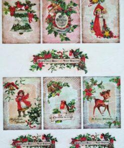 Hârtie de orez - Bright and Merry Christmas - A4