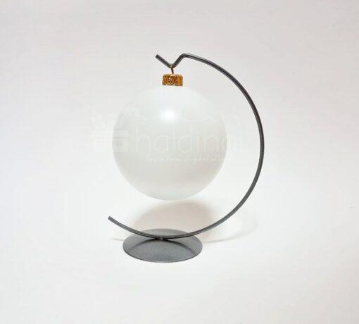 Suport metalic decorativ argintiu – glob – 16,5 cm