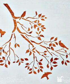 Șablon - Păsări în copac - 30x30 cm